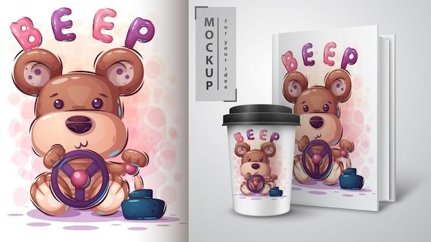Cartaz de motorista de urso e merchandising