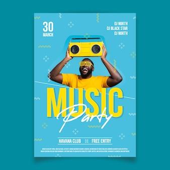 Cartaz de música abstrata com foto
