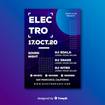 Cartaz de música abstrata electro de modelo