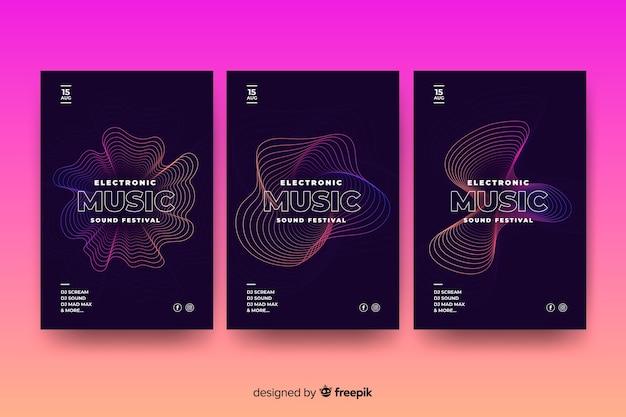 Cartaz de música abstrata onda modelo