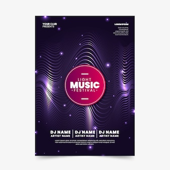 Cartaz de música abstrata ondas sonoras