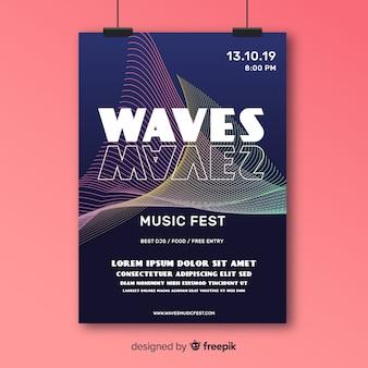Cartaz de música abstrato colorido ondas