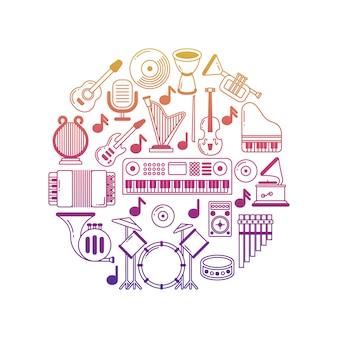 Cartaz de música brilhante com ícones de instrumentos musicais