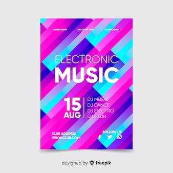 Cartaz de música colorida com modelo de formas geométricas