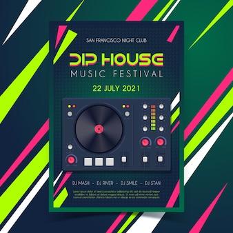 Cartaz de música com cabine de dj
