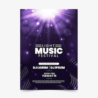 Cartaz de música com efeito de luz
