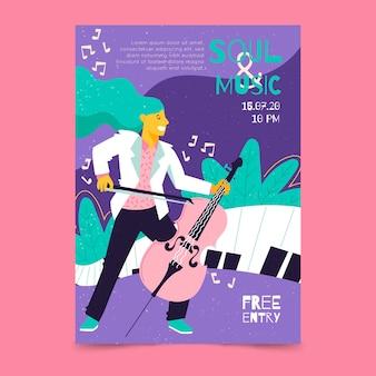 Cartaz de música com ilustração