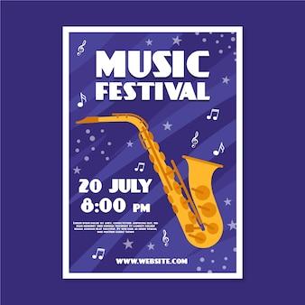 Cartaz de música com saxofone