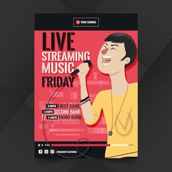 Cartaz de música com transmissão ao vivo