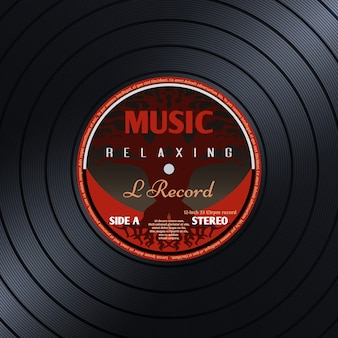 Cartaz de música de etiqueta de vinil retrô