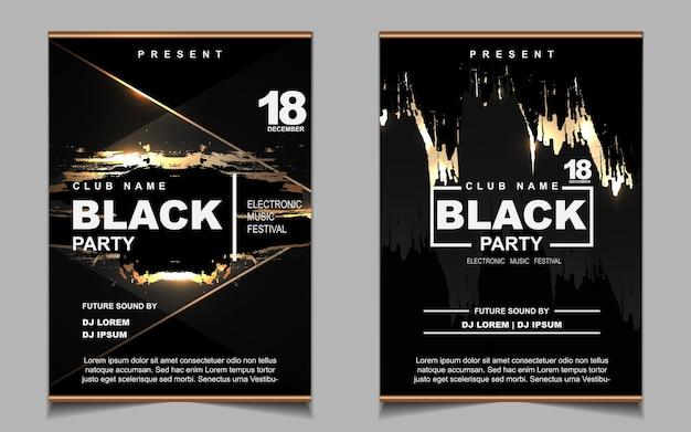 Cartaz de música de festa dançante noturna em preto e dourado