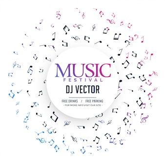 Cartaz de música elegante com notas