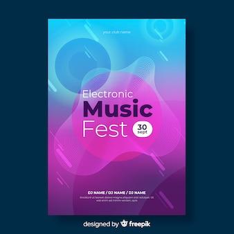 Cartaz de música eletrônica colorida gradiente