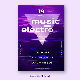 Cartaz de música eletrônica com modelo de efeito de falha