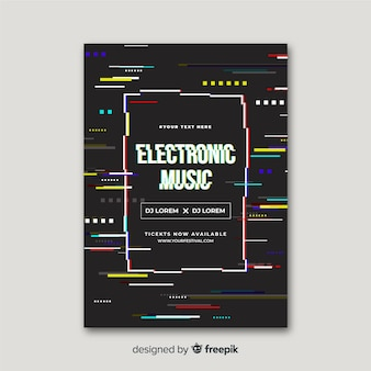 Cartaz de música eletrônica de efeito de falha de modelo