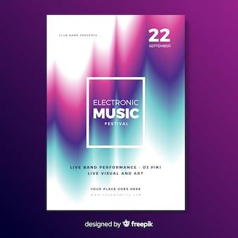 Cartaz de música eletrônica de modelo com efeito de falha