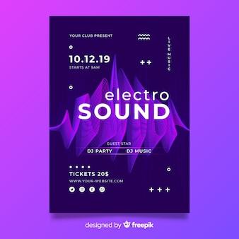Cartaz de música eletrônica de onda abstrata de modelo