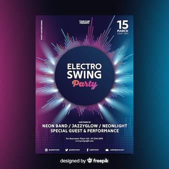 Cartaz de música eletrônica de onda abstrata modelo