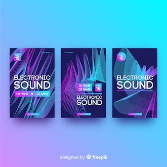 Cartaz de música eletrônica de som de onda