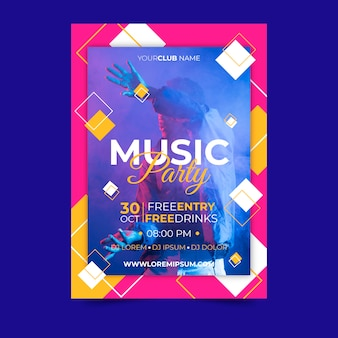 Cartaz de música estilo abstrato com foto