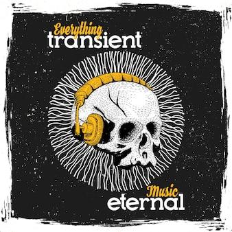 Cartaz de música eterna com caveira engraçada em fones de ouvido na ilustração laranja