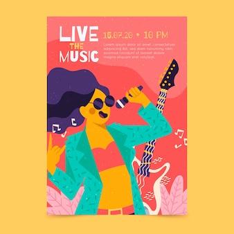 Cartaz de música ilustrada com garota cantando