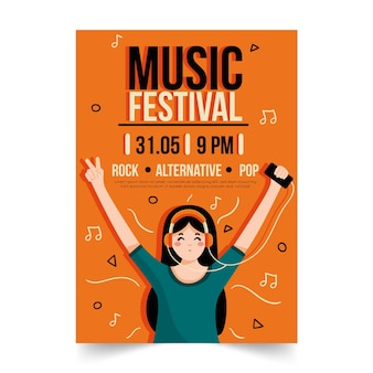 Cartaz de música ilustrado com música em fones de ouvido menina