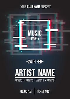 Cartaz de música moderna com formas geométricas de falha