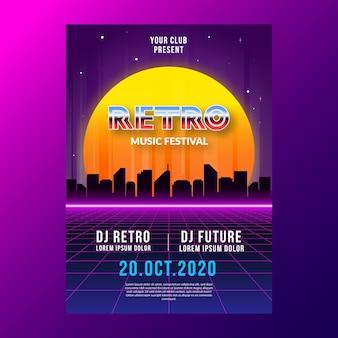Cartaz de música retrô futurista de modelo
