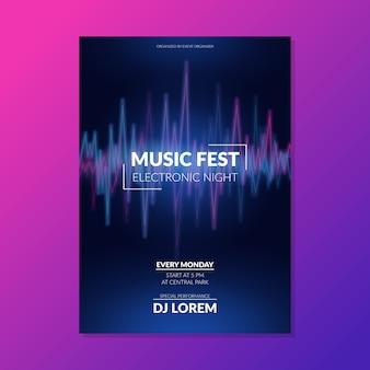 Cartaz de música som abstrato onda modelo