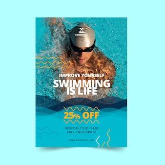 Cartaz de natação é aulas de vida