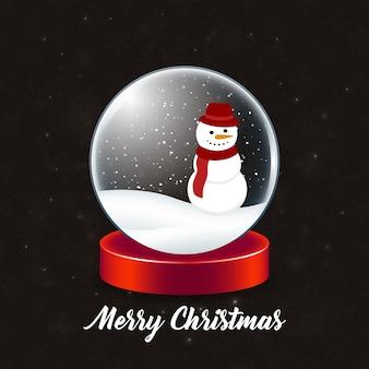Cartaz de natal com bola de cristal de natal e boneco de neve com neve e tipografia simples no fundo preto