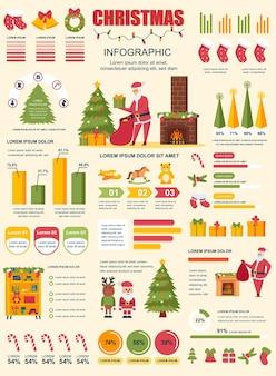 Cartaz de natal com modelo de elementos de infográfico em estilo simples.