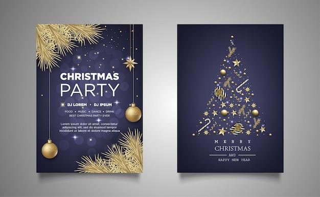 Cartaz de natal convite fundo de festa com decoração realista