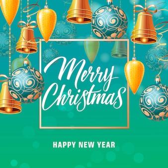 Cartaz de natal e ano novo com bolas