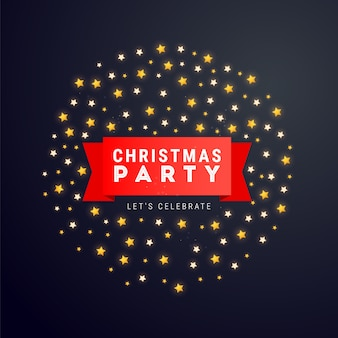 Cartaz de natal e ano novo ou banner com fitas vermelhas, texto e estrelas.