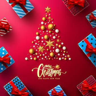 Cartaz de natal e ano novo vermelho com elementos de decoração de caixa e natal de presente
