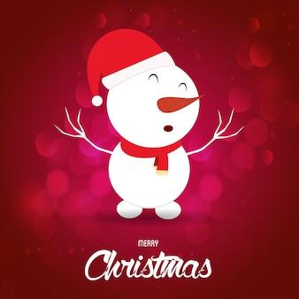 Cartaz de natal. feliz natal. feliz ano novo. boneco de neve de natal. fundo vermelho
