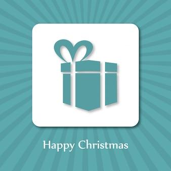 Cartaz de natal. feliz natal. feliz ano novo. caixa de presente azul na caixa branca