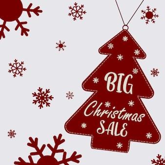 Cartaz de natal sobre uma grande liquidação de natal. árvore de natal com texto e flocos de neve. folheto, pôster. ilustração em vetor plana.