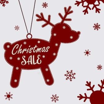 Cartaz de natal sobre uma grande liquidação de natal. veado de natal com texto e flocos de neve. folheto, pôster. ilustração em vetor plana.