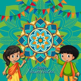 Cartaz de navaratri com crianças felizes