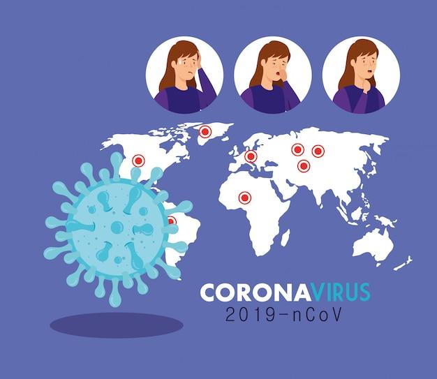 Cartaz de ncov de coronavírus 2019 com ilustração de mulheres