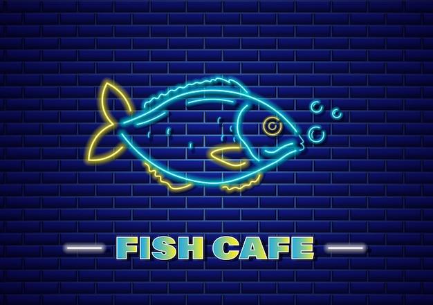 Cartaz de néon de peixe
