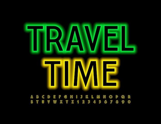 Cartaz de néon tempo de viagem luz amarela fonte conjunto de letras e números do alfabeto moderno e brilhante