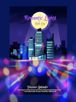 Cartaz de nightscape da cidade