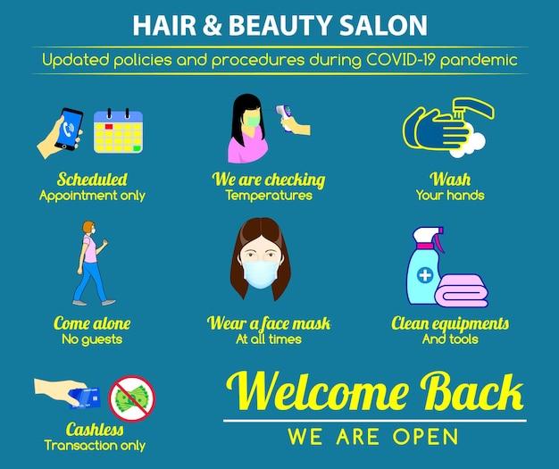 Cartaz de novas regras de salão de beleza de cabelo ou práticas de saúde pública para covid19 ou saúde