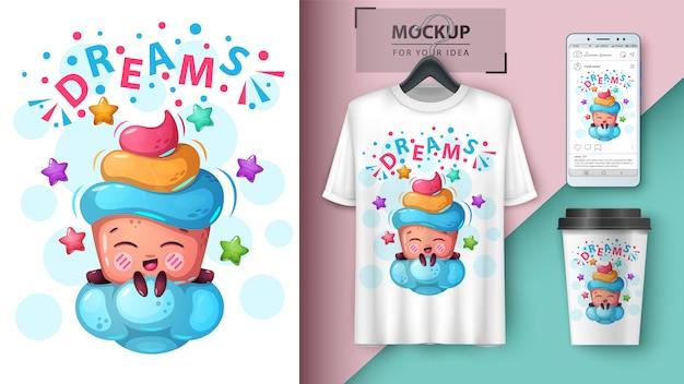 Cartaz de nuvem de sonho e merchandising