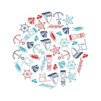 Cartaz de objetos de iatismo no círculo com muitos elementos marítimos, como coquille, algas marinhas, pedras no branco