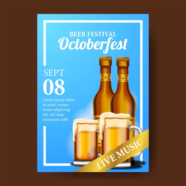 Cartaz de octoberfest com copo de cerveja e garrafa